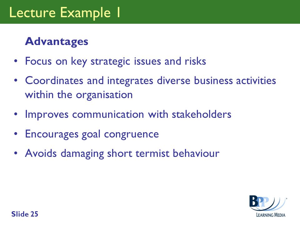 Lecture Example 1 Advantages Focus on key strategic issues and risks