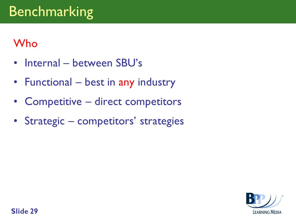 Benchmarking Who Internal – between SBU's