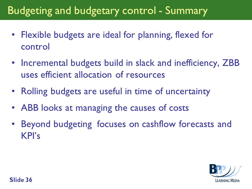 Budgeting and budgetary control - Summary