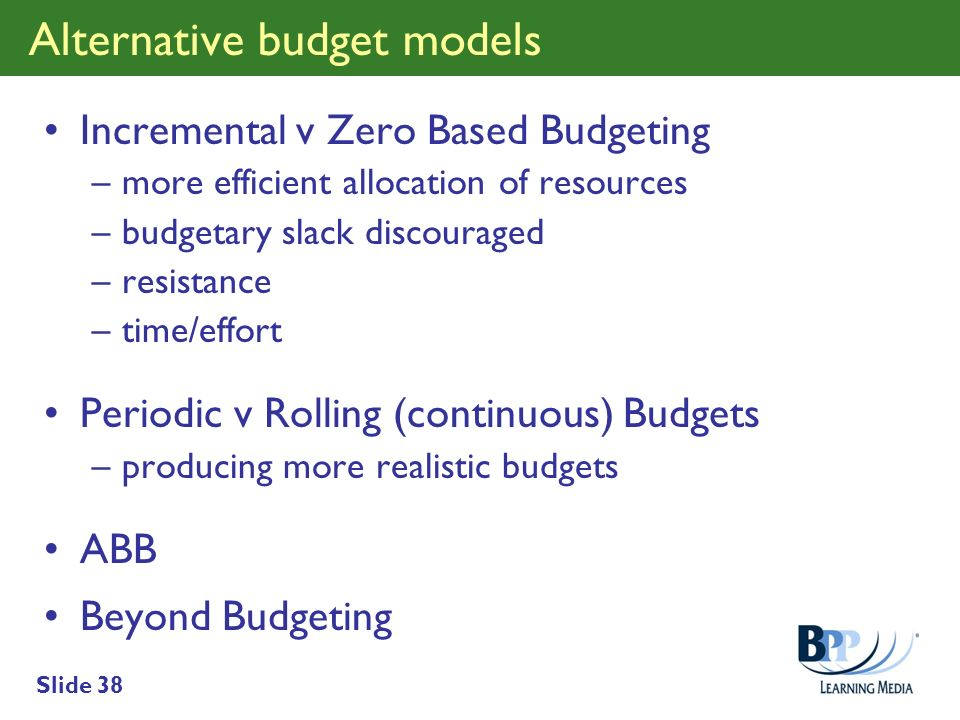 Alternative budget models