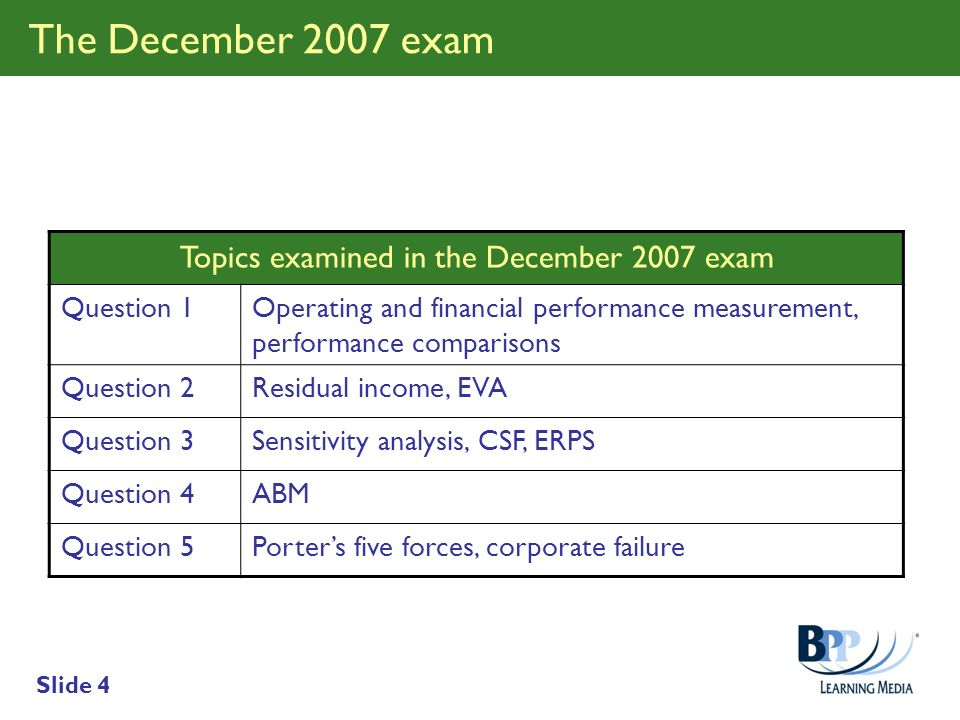 Topics examined in the December 2007 exam