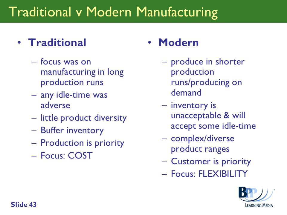 Traditional v Modern Manufacturing