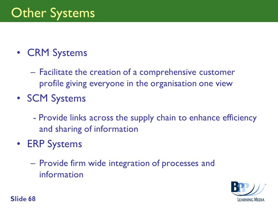 Other Systems CRM Systems SCM Systems ERP Systems