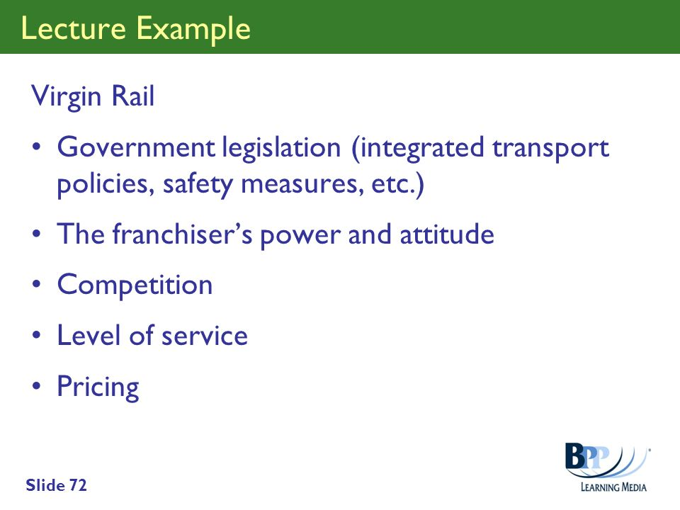 Lecture Example Virgin Rail