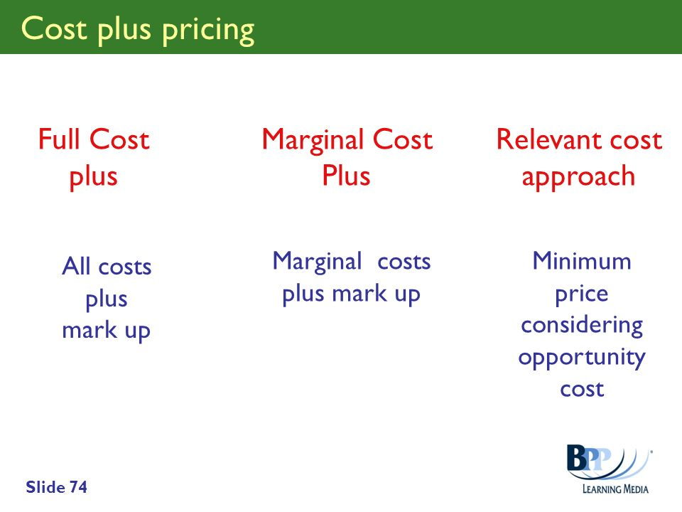 Cost plus pricing Full Cost plus Marginal Cost Plus