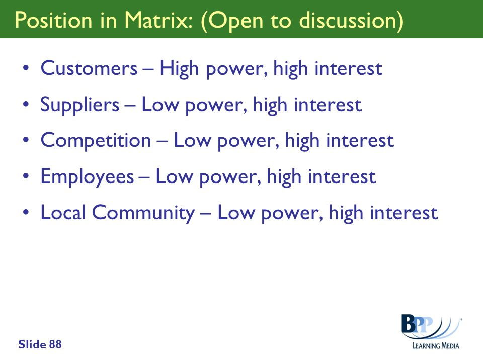 Position in Matrix: (Open to discussion)