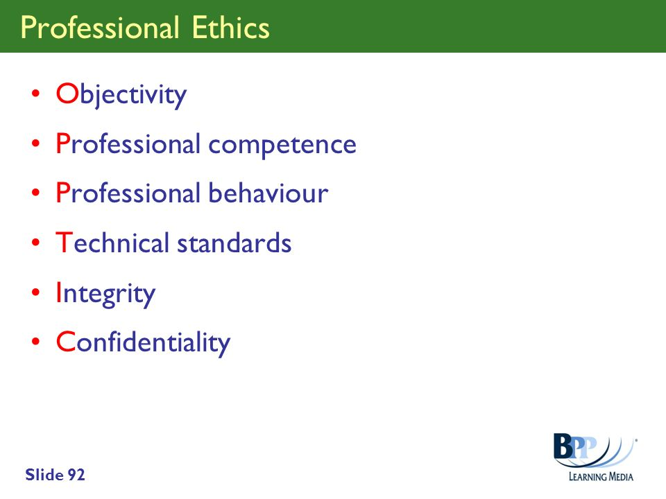 Professional Ethics Objectivity Professional competence