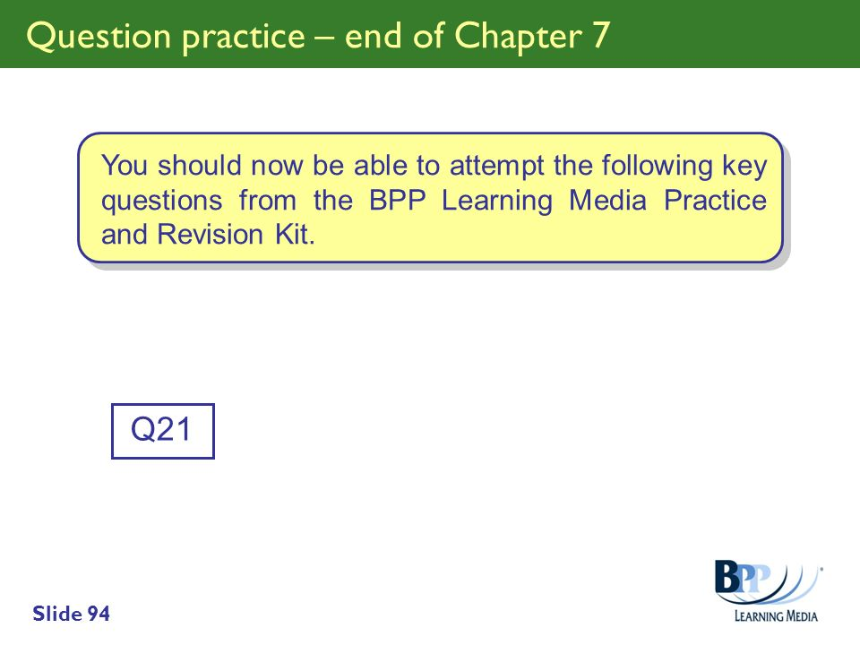 Question practice – end of Chapter 7
