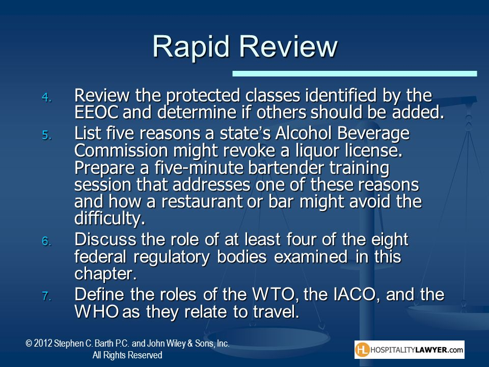 Rapid Review Review the protected classes identified by the EEOC and determine if others should be added.
