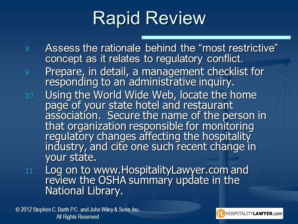 Rapid Review Assess the rationale behind the most restrictive concept as it relates to regulatory conflict.