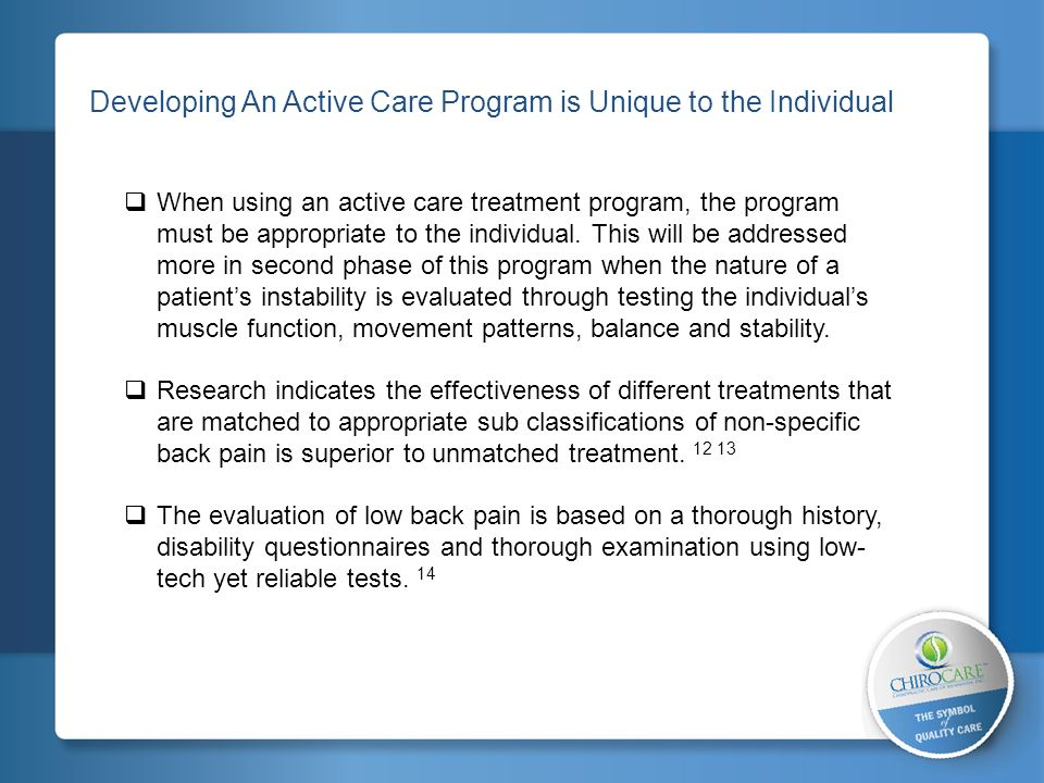 2 Developing An Active Care Program is Unique to the Individual