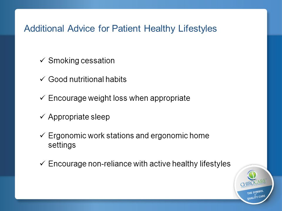 2 Additional Advice for Patient Healthy Lifestyles Smoking cessation