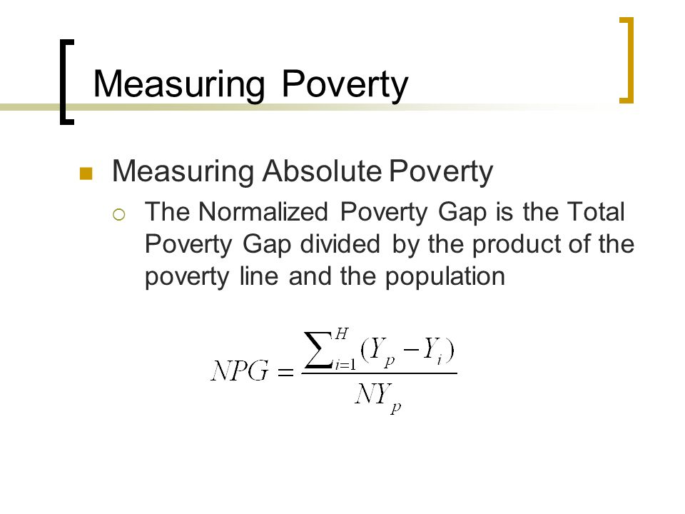 Measuring Poverty Measuring Absolute Poverty