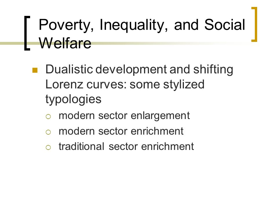 Poverty, Inequality, and Social Welfare