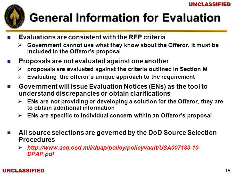 General Information for Evaluation