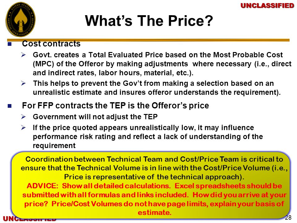 What's The Price Cost contracts