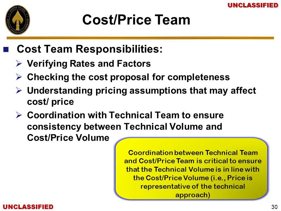 Cost/Price Team Cost Team Responsibilities: