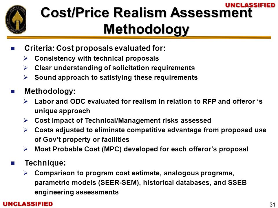 Cost/Price Realism Assessment Methodology