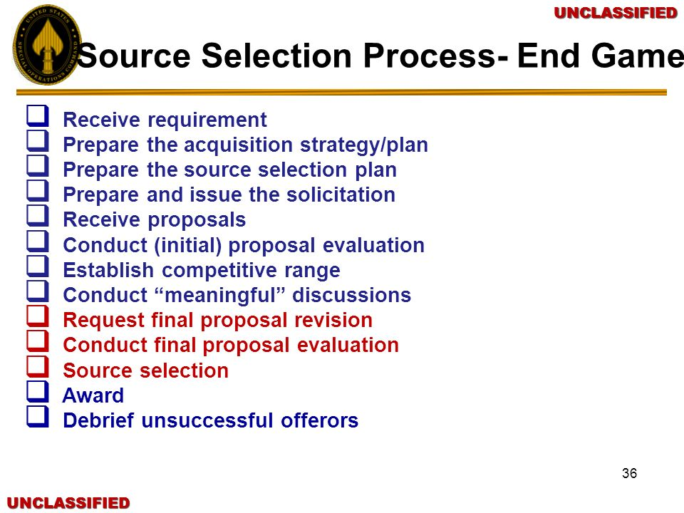 Source Selection Process- End Game