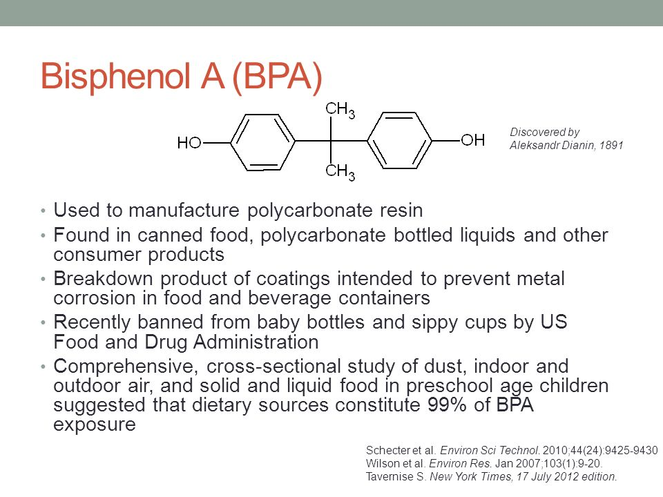 Bisphenol A (BPA) Used to manufacture polycarbonate resin