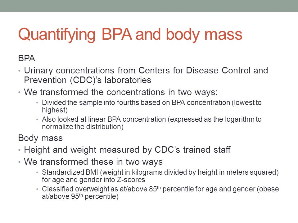 Quantifying BPA and body mass