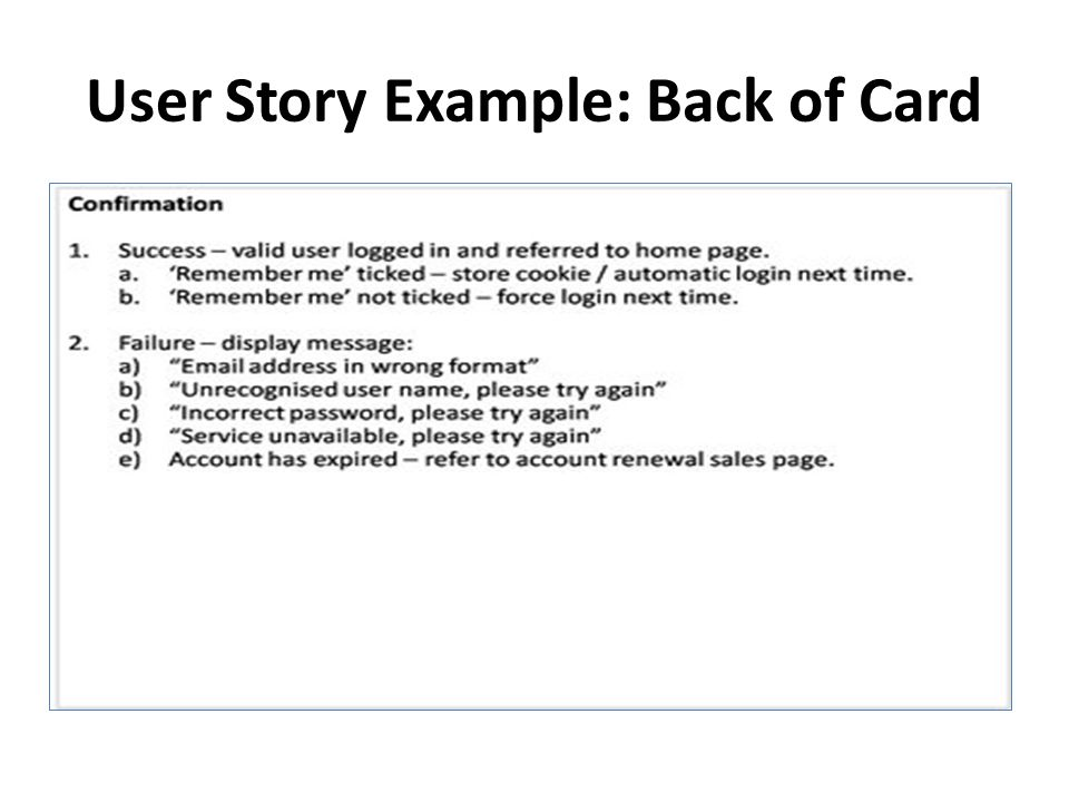 User Story Example: Back of Card
