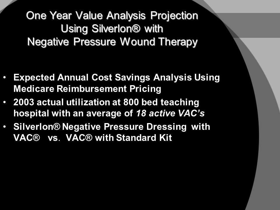 One Year Value Analysis Projection Using Silverlon® with Negative Pressure Wound Therapy