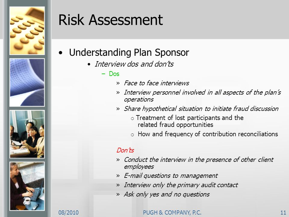 Risk Assessment Understanding Plan Sponsor Interview dos and don'ts