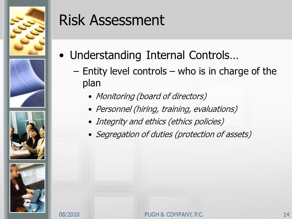 Risk Assessment Understanding Internal Controls…
