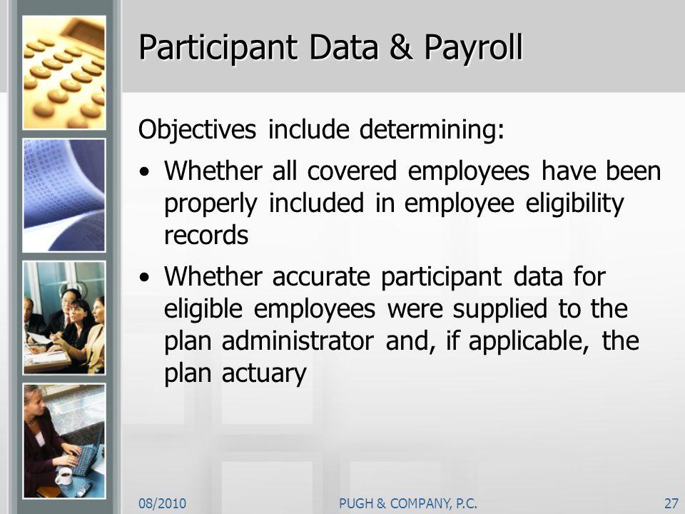 Participant Data & Payroll