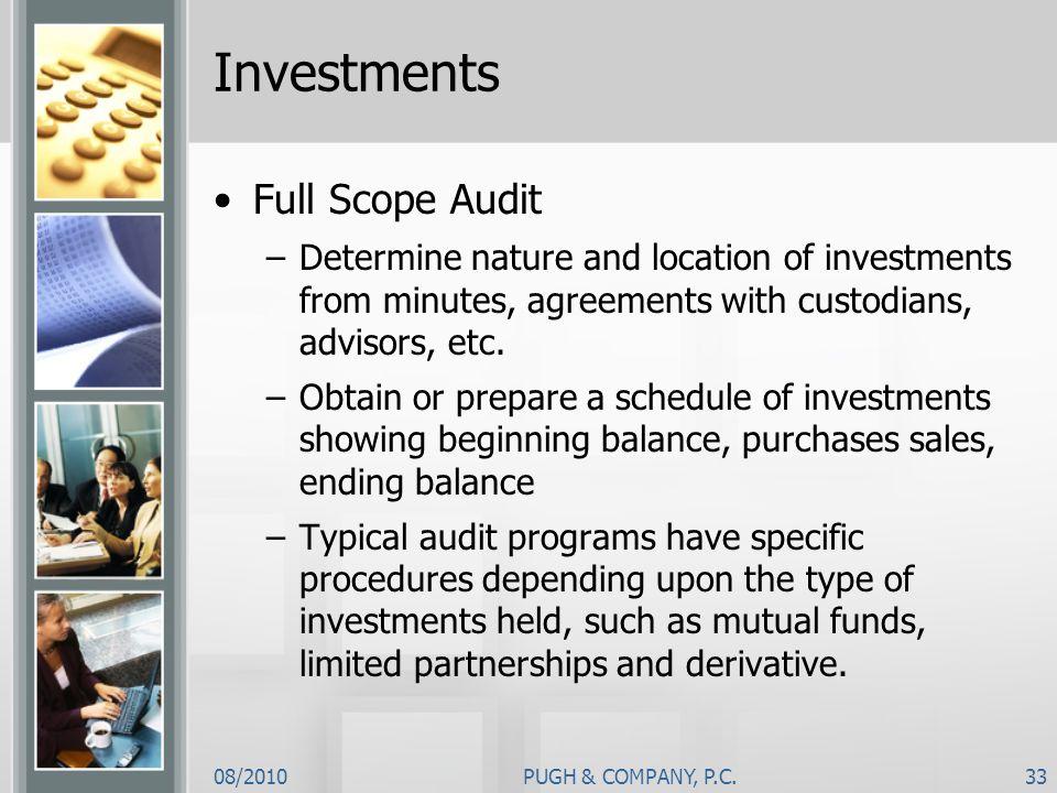 Investments Full Scope Audit