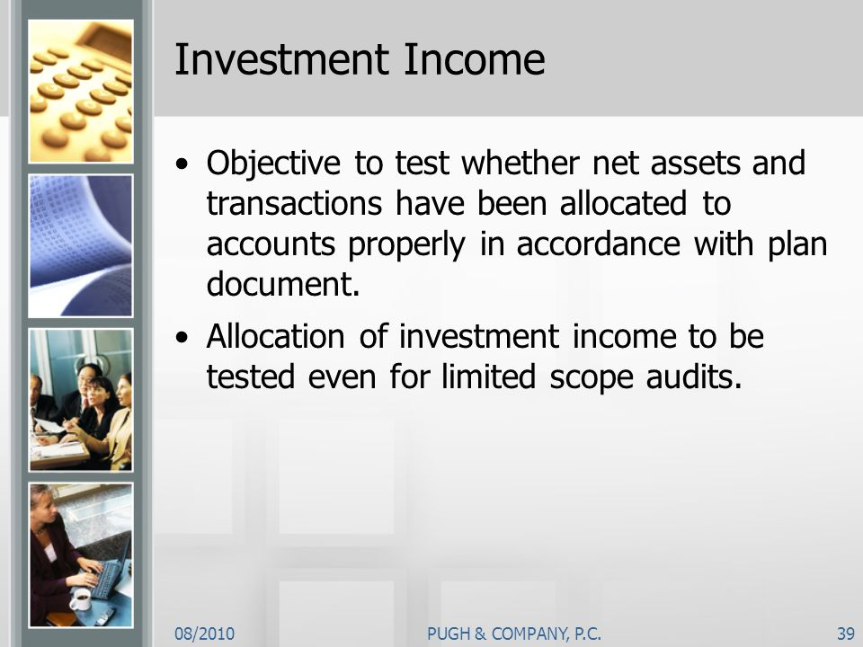 Investment Income Objective to test whether net assets and transactions have been allocated to accounts properly in accordance with plan document.