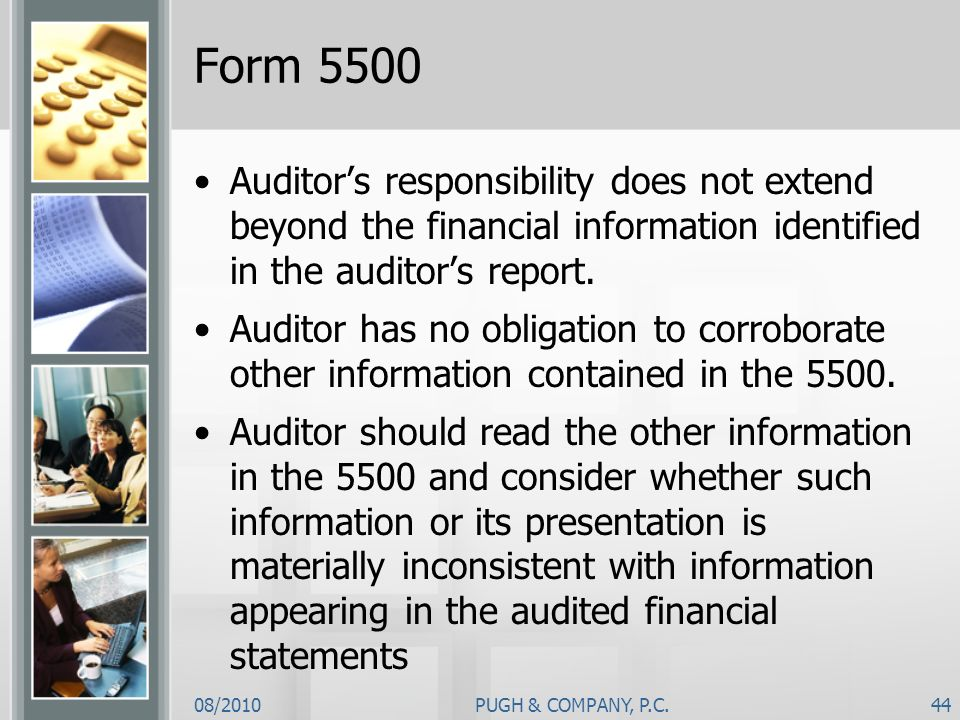 Form 5500 Auditor's responsibility does not extend beyond the financial information identified in the auditor's report.