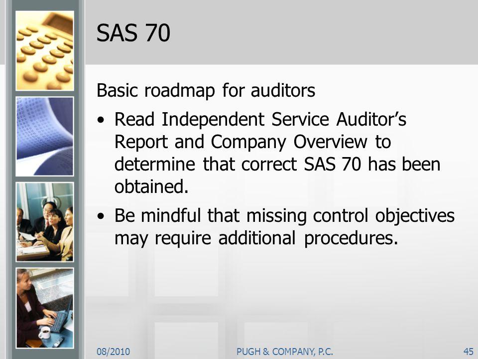 SAS 70 Basic roadmap for auditors