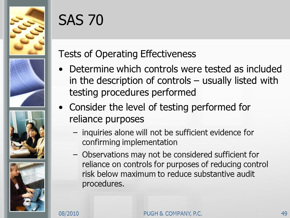 SAS 70 Tests of Operating Effectiveness