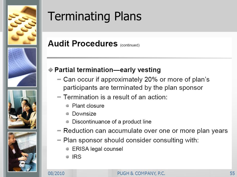 Terminating Plans 08/2010 PUGH & COMPANY, P.C.