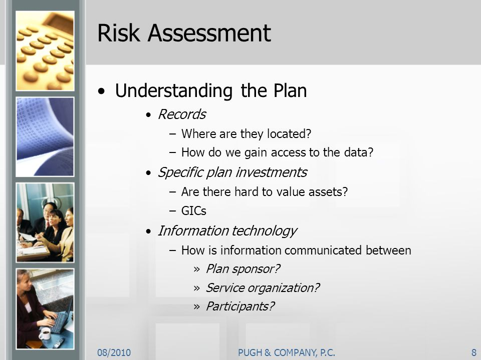 Risk Assessment Understanding the Plan Records