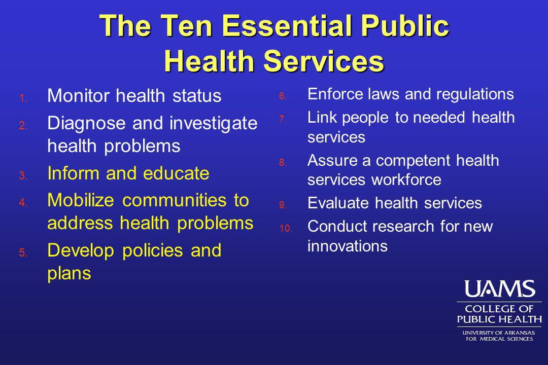 The Ten Essential Public Health Services