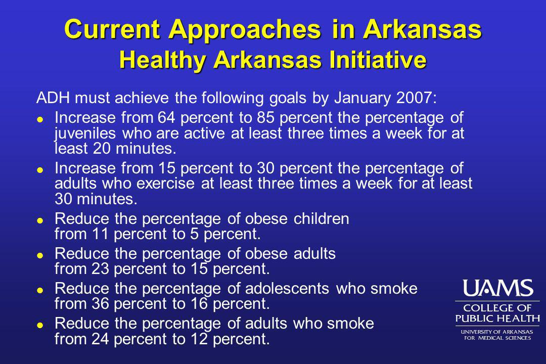 Current Approaches in Arkansas Healthy Arkansas Initiative