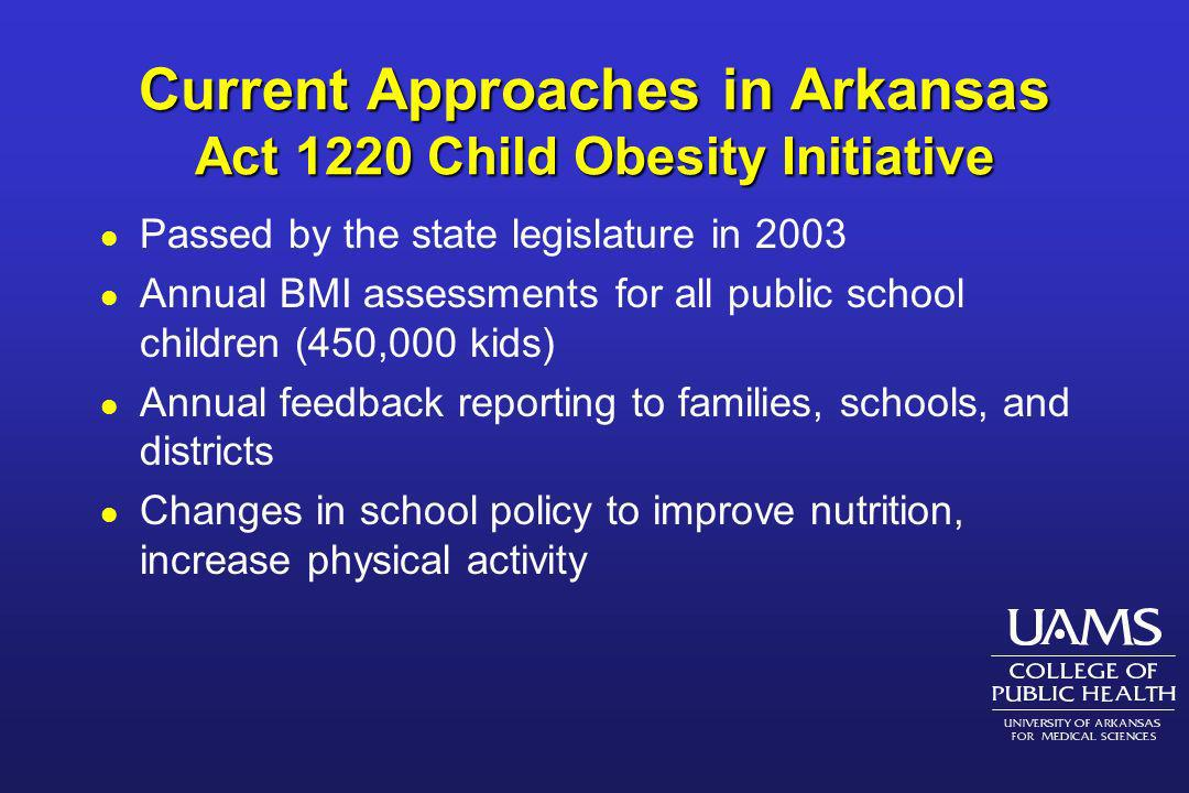 Current Approaches in Arkansas Act 1220 Child Obesity Initiative