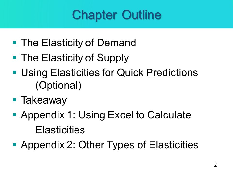 Chapter Outline The Elasticity of Demand The Elasticity of Supply