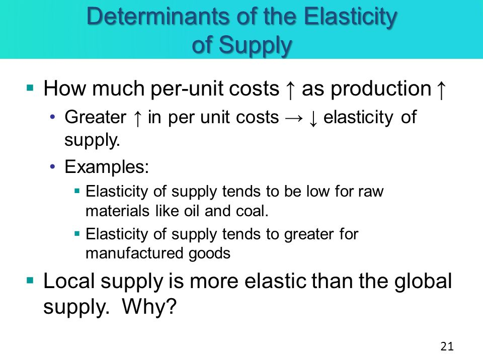 determinants of price elasticity of supply Determinants of price elasticity of supply a numeric value that measures the elasticity of a good when the price changes -availability of materials - the limited availability of raw materials could limit the amount of a product that can be produced -length and complexity of product - if the.