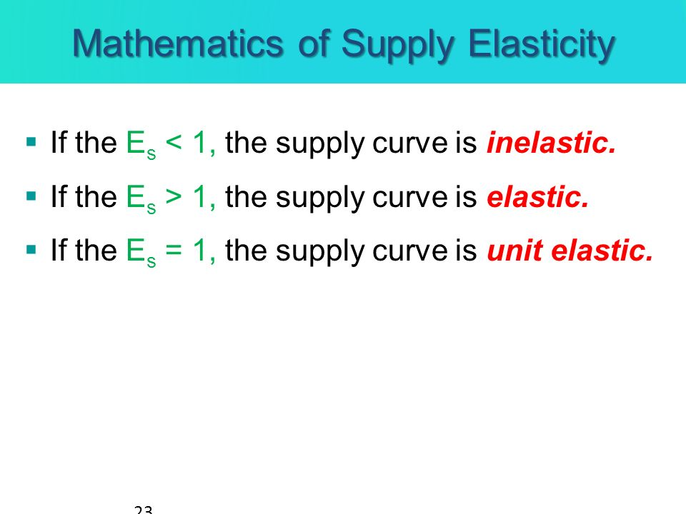 Mathematics of Supply Elasticity