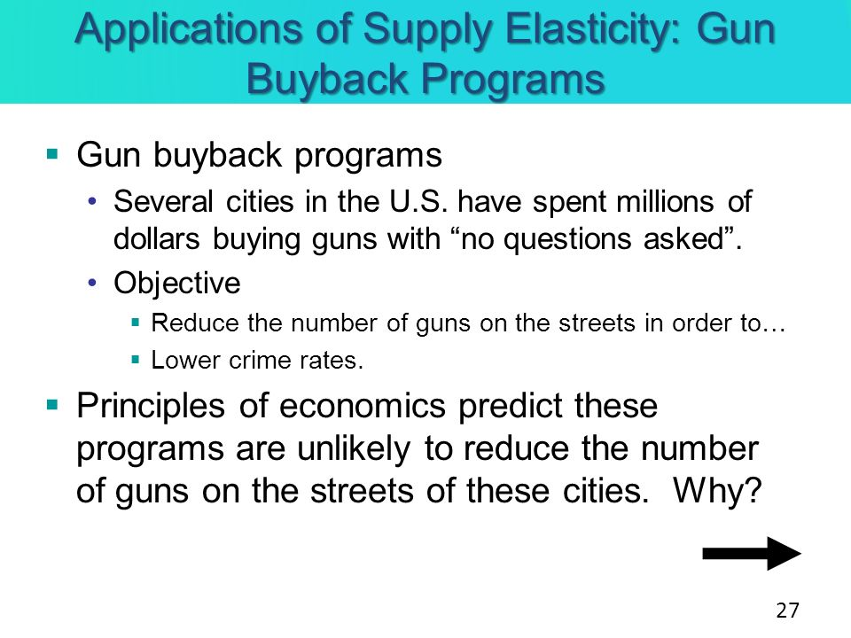 Applications of Supply Elasticity: Gun Buyback Programs