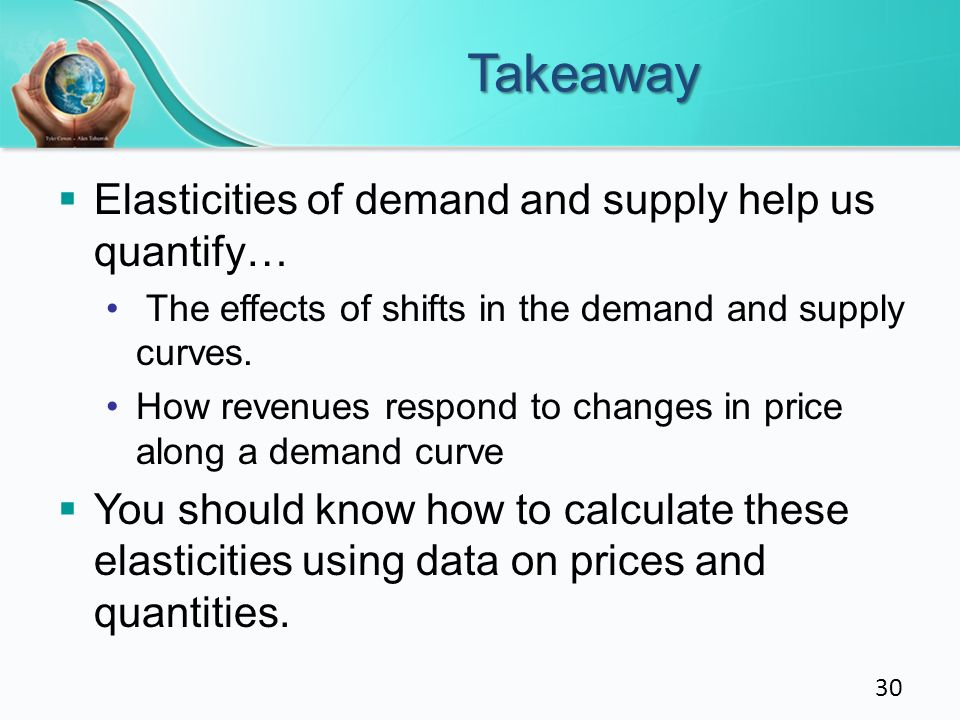 Takeaway Elasticities of demand and supply help us quantify…