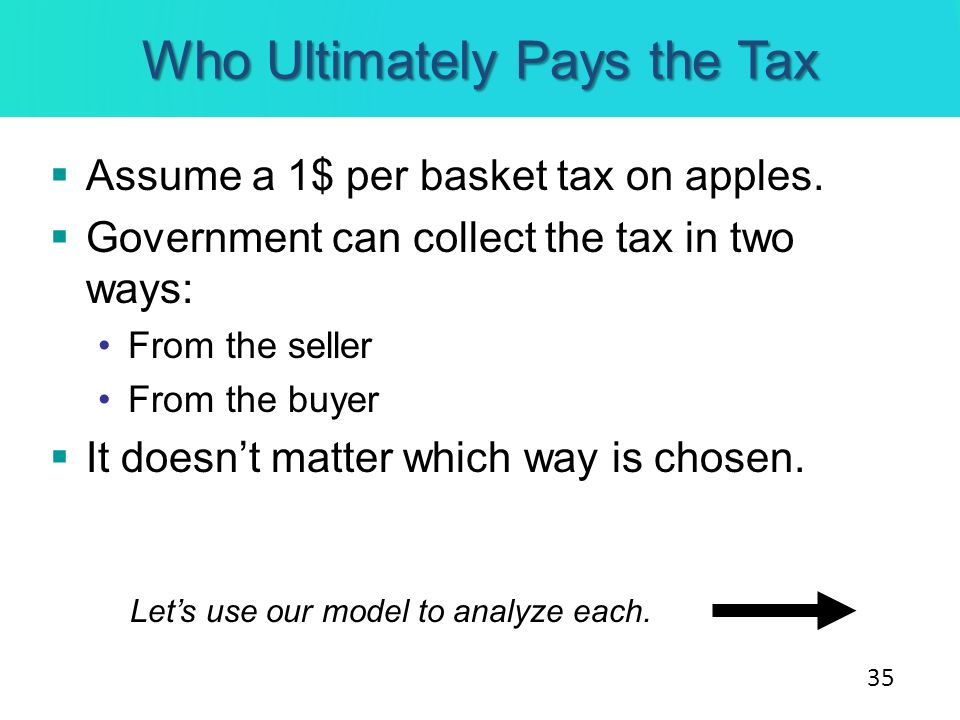 Who Ultimately Pays the Tax