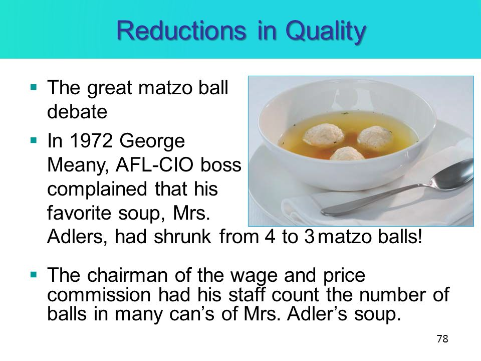 Reductions in Quality The great matzo ball debate