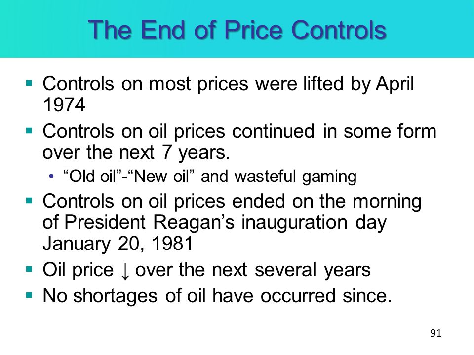 The End of Price Controls