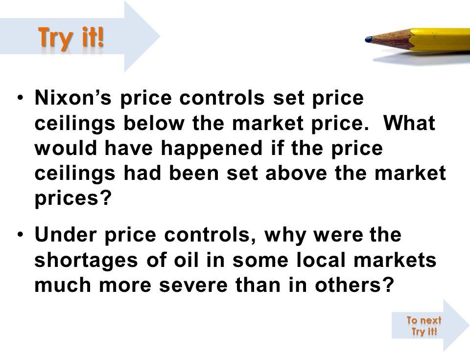 Nixon's price controls set price ceilings below the market price