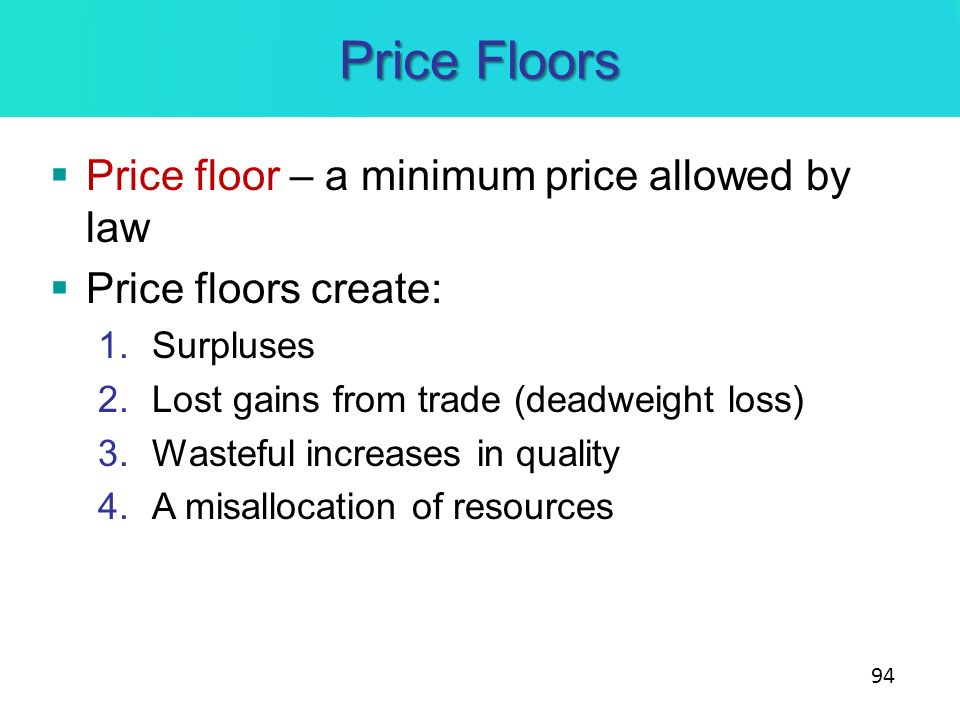 Price Floors Price floor – a minimum price allowed by law
